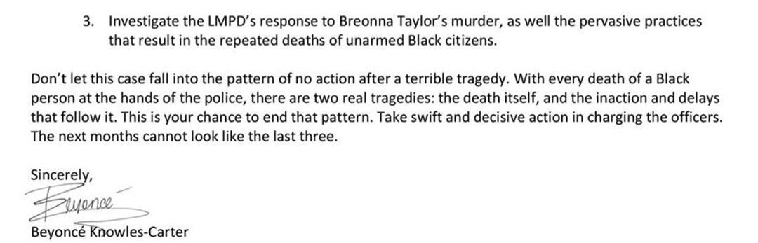 Beyonce letter for Breonna Taylor